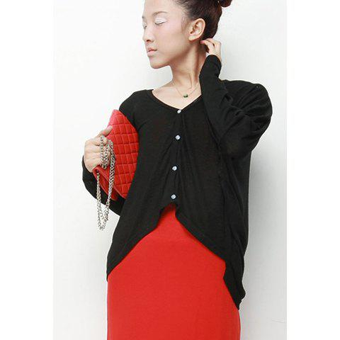 Casual V-Neck Solid Color Big Pocket Design Batwing Women's Knitwear - BLACK ONE SIZE