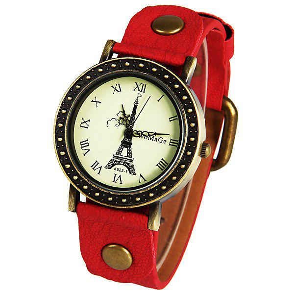WoMaGe Quartz Watch with Roman Numbers Indicate Leather Watch Band for Women (Purple) - RED