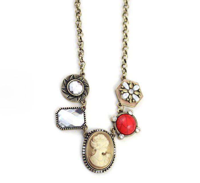 Chic Vintage Rhinestoned Flower Pendant Multielement Necklace For Women