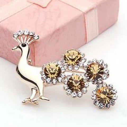 Exquisite Shining Style Rhinestone Embellished Peacock Shape Brooch For Women - CHAMPAGNE