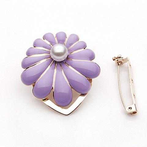 Shining Elegant Style Pearl Flower Shape Brooch For Women - PURPLE
