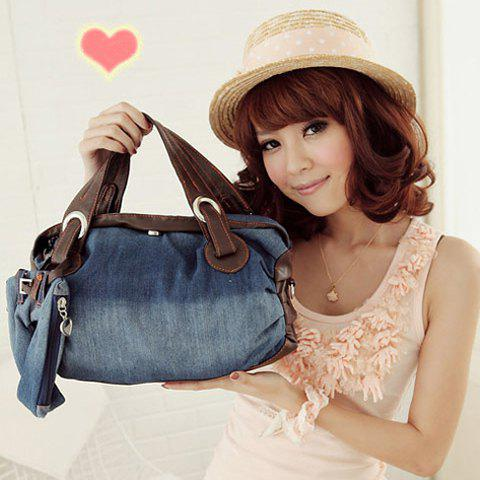 Stylish Style Casual Splicing and Denim Design Tote Bag For Women - BLUE