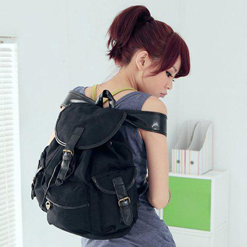 Korean Style Casual Color Matching and Canvas Design Satchel For Women - BLACK