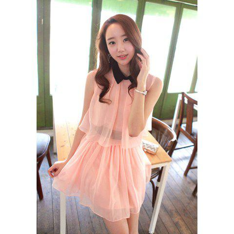 Elegant Polo Neck Women's Chiffon Dress With Narrow Waist Sleeveless Loose Fit Design - PINK M