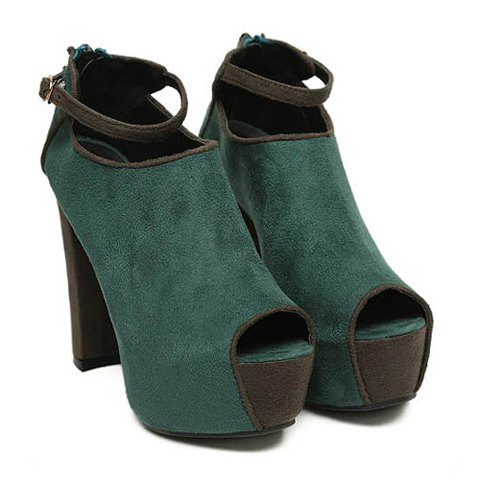 2013 New Arrival Suede Chunky Heel Design Spring Peep Toe Shoes For Women - GREEN 35