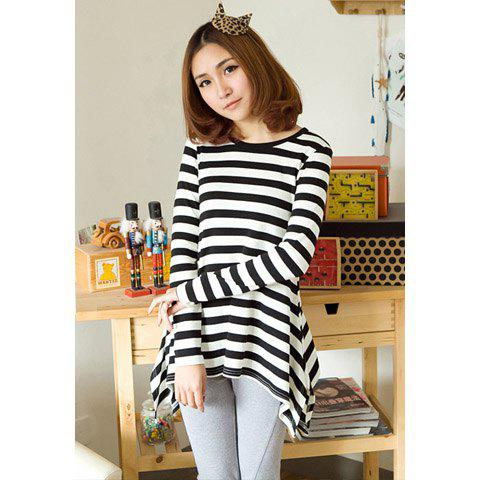 Stylish Style Scoop Neck Stripe High-Low Hem Design Long Sleeves Women's Spring T-Shirt - AS THE PICTURE L