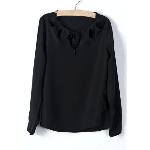 Spring New Solid Color Chest Openwork Blouse For Women - BLACK S