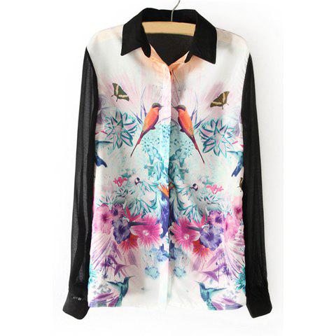 Spring New Splicing Blocking Color Bird and Flower Painting Blouse For Women