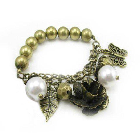 Vintage Chic Flower Leaf Pendant Embellished Bracelet For Women - AS THE PICTURE