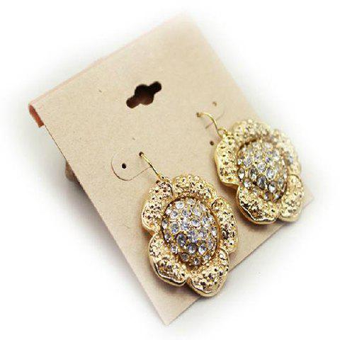 Pair of Hot Sale Elegant Style Rhinestone Embellished Flower Shape Earrings For Women