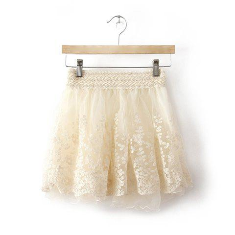 Sweet Style Lace Splicing Jacquard Embellished Women's Spring Skirt - WHITE ONE SIZE
