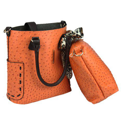 2013 New Arrival PU Leather and Ostrich Patterns Zipper Design Tote For Women - ORANGE