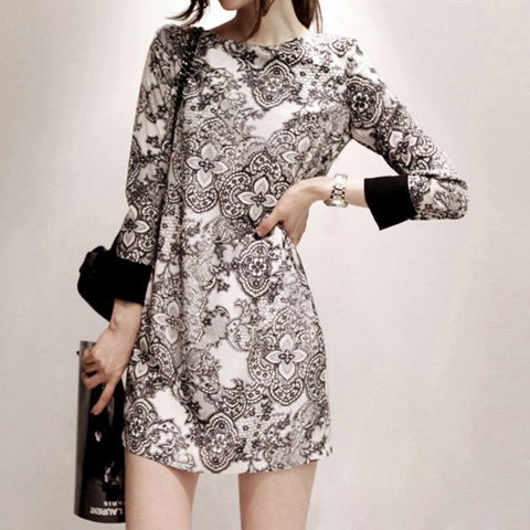 Elegant Printing Long Sleeved Women's Dress - AS THE PICTURE M