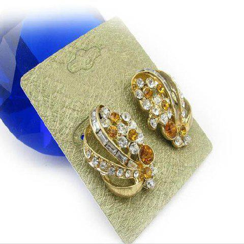 Pair of Shining Sweet Style Rhinestone Embellished Earrings For Women - AS THE PICTURE