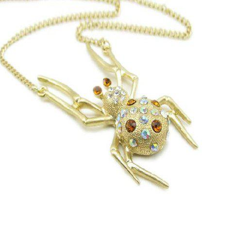 Chic Cute Rhinestoned Spider Shape Pendant Necklace For Women - AS THE PICTURE