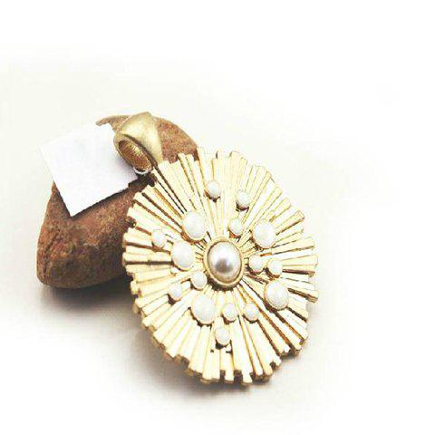 Exquisite Shining Style Pearl Embellished Circle Shape Pendant For Necklace - AS THE PICTURE