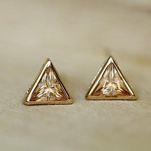 Pair of Sweet Style Crystal Embellished Triangle Shape Earrings For Women