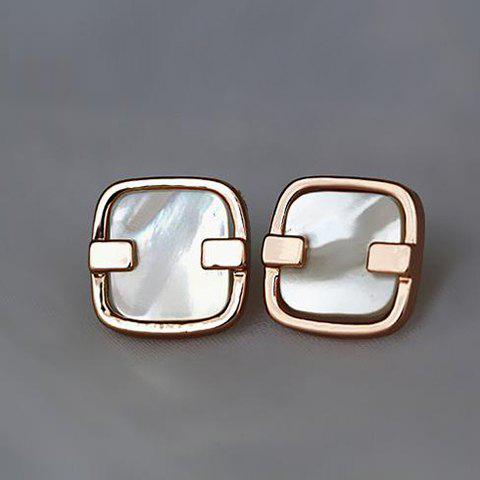 Pair of Chic Sweet Shell Embellished Square Stud Earrings For Women