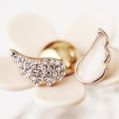Pair of Shining Sweet Style Rhinestone and Opal Embellished Wings Shape Asymmetrical Earrings For Women - AS THE PICTURE
