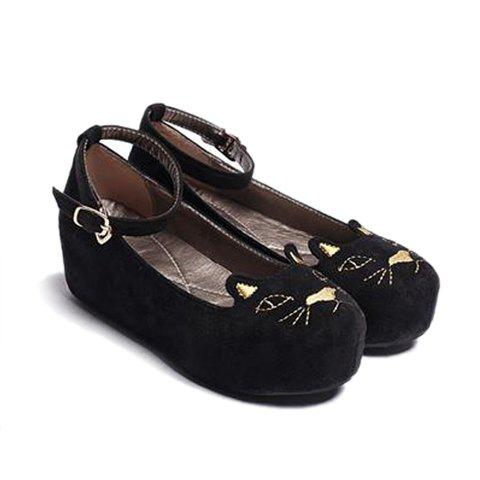 2013 New Arrival Suede and Cute Style Round Toe Design Spring Platform Shoes For Women - BLACK 39