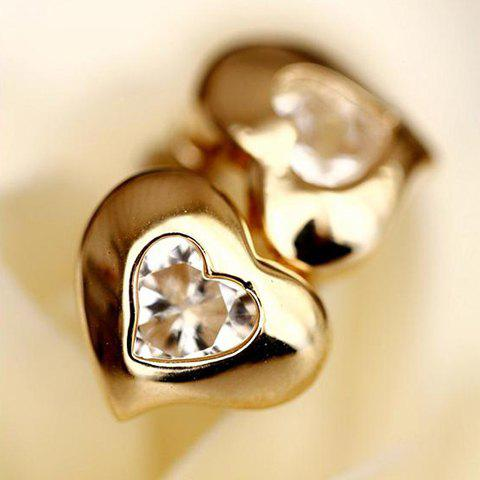 Pair of Exquisite Shining Style Rhinestone Embellished Heart-Shaped Earrings For Women - GOLD