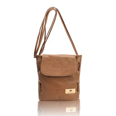2013 New Arrival PU Leather Small Size and Bucket Pattern Design Cross-Body Bag For Women - BROWN