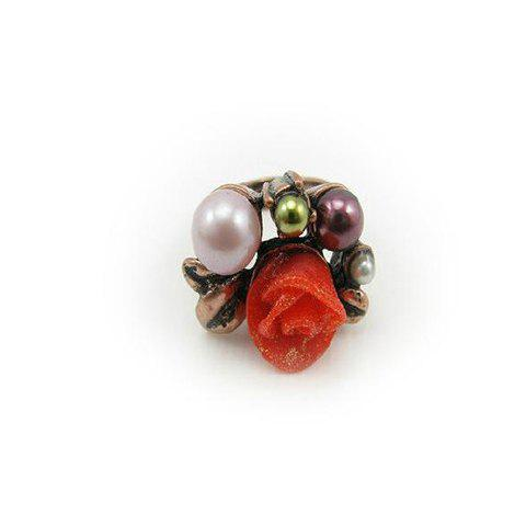 Chic Sweet Faux Pearl Flower Shape Finger Ring For Women - AS THE PICTURE ONE SIZE