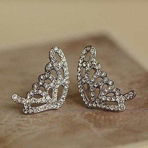 Pair of Chic Graceful Rhinestoned Butterfly Shape Stud Earrings For Women - SILVER