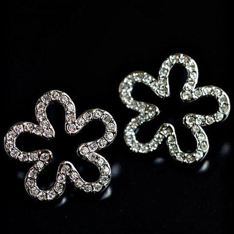 Pair of Chic Sparking Rhinestoned Flower Shape Ear Clips For Women - SILVER