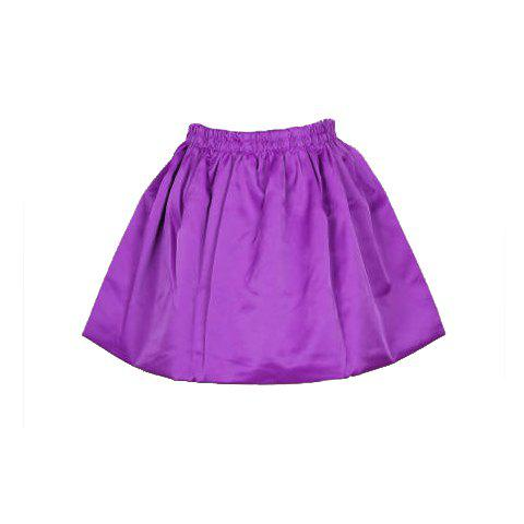 Elegant Sweet Style Solid Color High-Waisted Spring A-Line Skirt For Women - PURPLE ONE SIZE