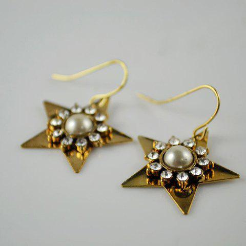 Pair of Elegant Style Rhinestone Embellished Star Shape Earrings For Women - AS THE PICTURE