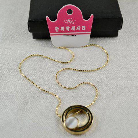 Cute Style Circle Shape Pendant Faux Gem Embellished Necklace For Women - GOLD