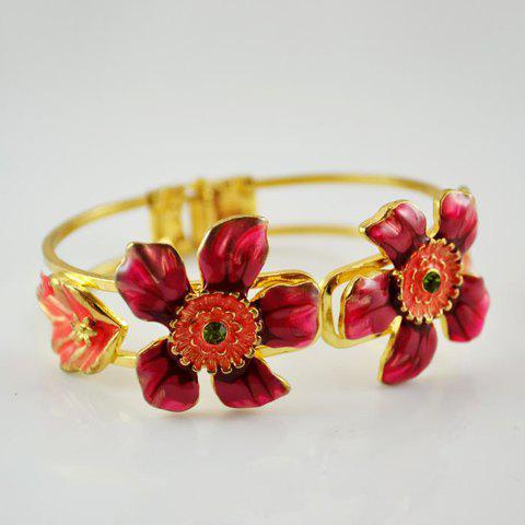 Chic Graceful Rhinestoned Flower Embellished Bracelet For Women - AS THE PICTURE