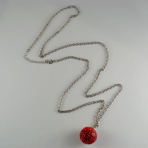 Red Rhinestone Embellished Bulb Pendant Alloy Women's Sweater Chain