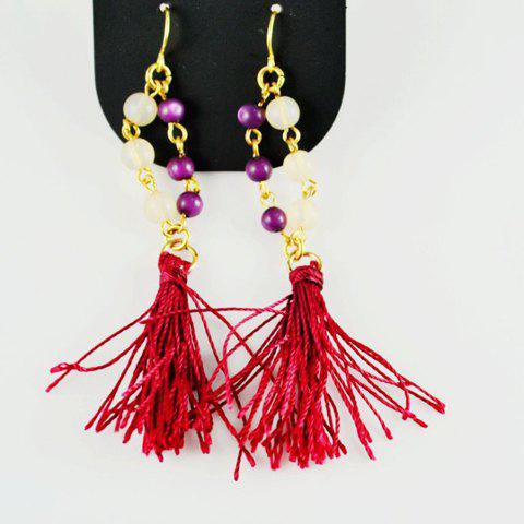 Pair Of Stylish Style Fringe Colorful Bead Embellished Earrings For Women - AS THE PICTURE