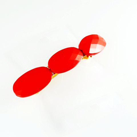 Stylish Style Oval Faceted Design Gemstone Embellished Hairpin For Women - AS THE PICTURE