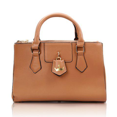 Casual PU Leather and Solid Color Zipper Design Women's Tote - KHAKI