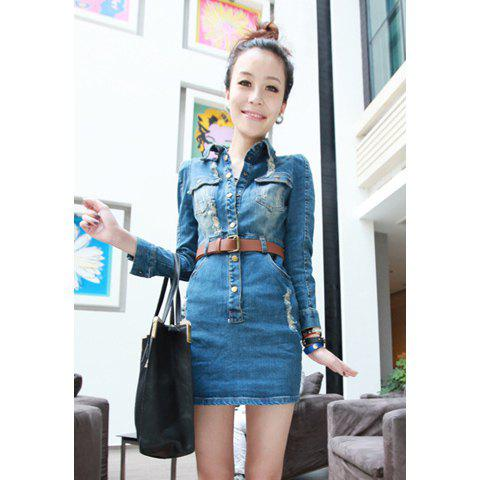 Slimming With Belt Bleached Washing Hole Design Dress For Women - BLUE L