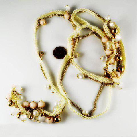 Exquisite Ladylike Style Opal and Pearl Embellished Sweater Chain Necklace For Women - AS THE PICTURE