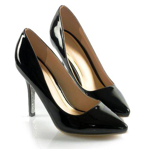 Laconic Trendy Party Solid Color Patent Leather and Pointed Head Design Women's Spring Pumps - BLACK 37
