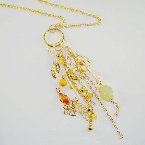 Ladylike Style Multielement Pendant Faux Gem Embellished Sweater Chain Necklace For Women - AS THE PICTURE