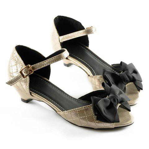 Casual Vintage Style Checked and Bow Design Women's Sandals - GOLD 36