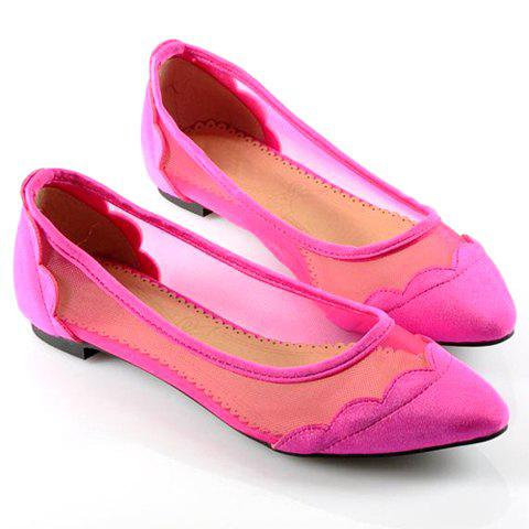 British Style Casual Splicing Solid Color and Openwork Design Women's Spring Flat Shoes - ROSE 37