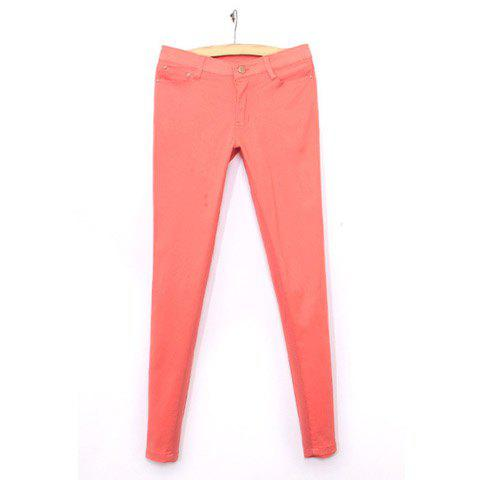 Fashion Style Women's Casual Pants With Candy Color Fitted Design - WATERMELON RED S