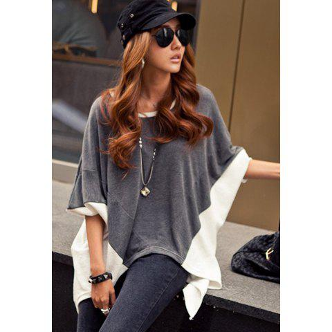 Women's Round Collar Multicolor Cotton Relaxed Casual T-shirt - GRAY ONE SIZE