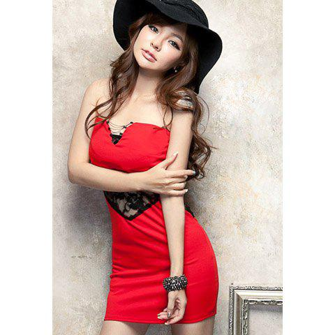 Sexy Strapless Splicing Lace Hook Flower Openwork Party Dress For Women - RED ONE SIZE