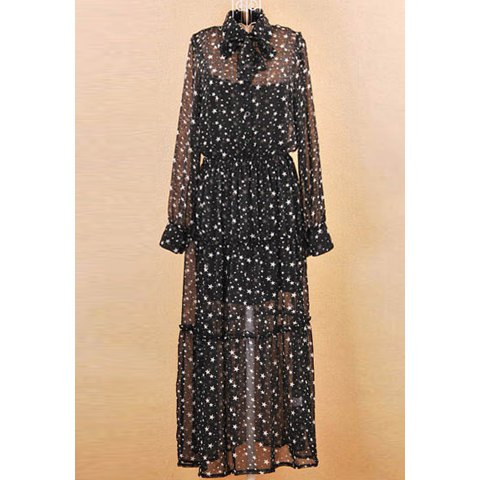 Charming With Vest Stars Print Bowknot Embellished Dress For Women - BLACK L