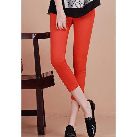 Elegant Skinny Solid Color Cropped Women's Pencil Pants(With Belt)