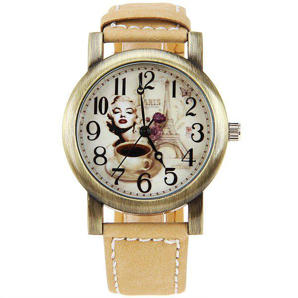Astina Quartz Watch with Numbers Indicate Leather Watchband for Women (Yellow) -