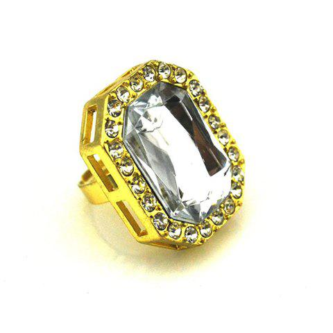 Rhinestoned Polygon Shape Finger Ring - AS THE PICTURE ONE SIZE